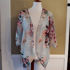 Sweaters - Floral Print Kimono Cardigan Cover Up - Mint
